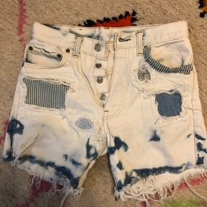 Vintage patchwork light denim shorts size 26